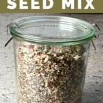 A glass jar filled wit omega seed mix