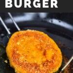 Pumpkin burger patty being fried in a pan