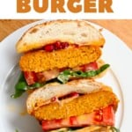Pumpkin Burger cut in two