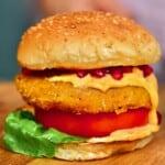 A close up of a pumpkin burger
