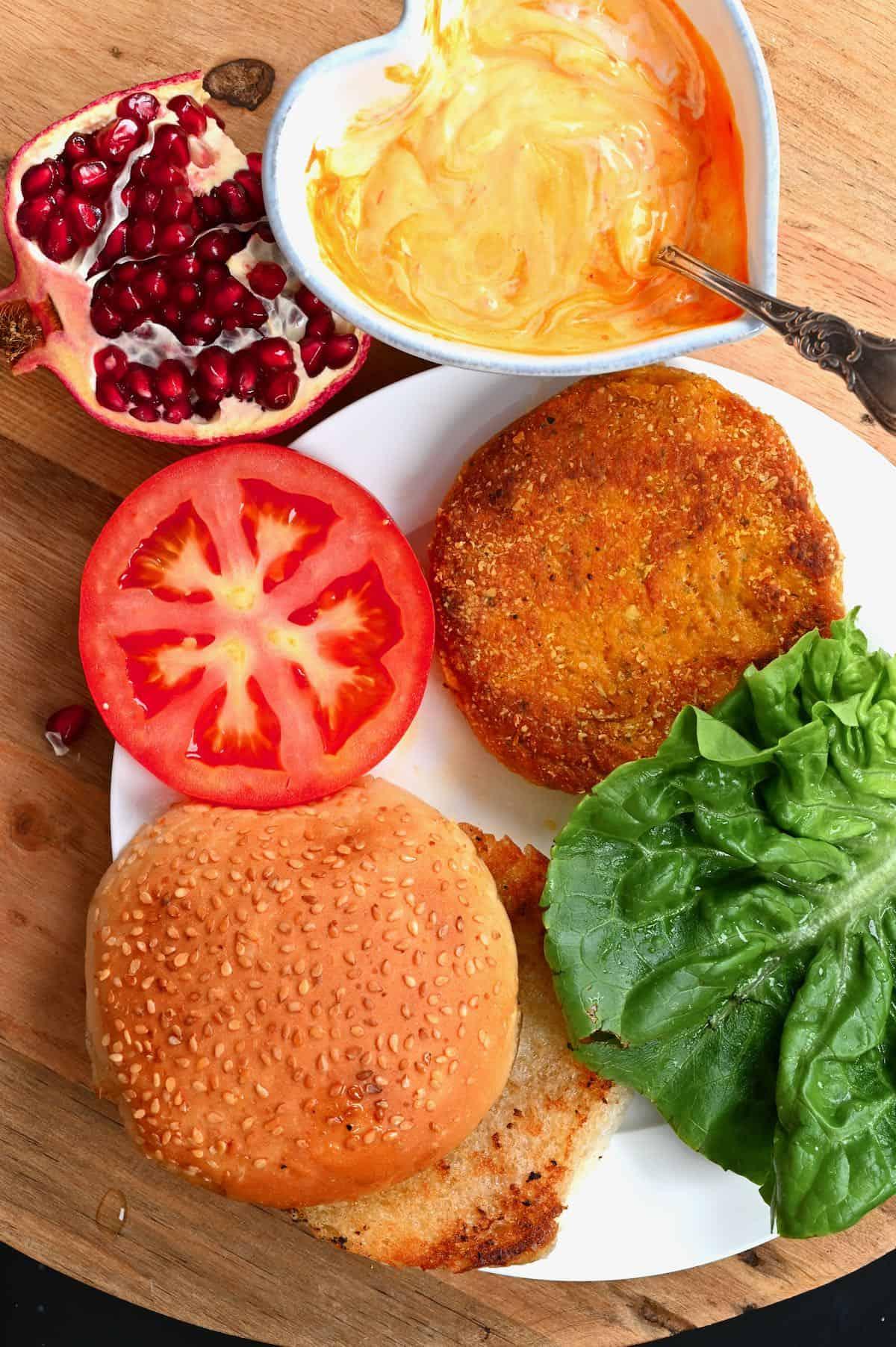 Pumpkin burger toppings