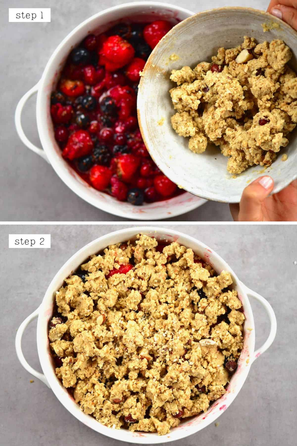 Steps for assembling berry crumble