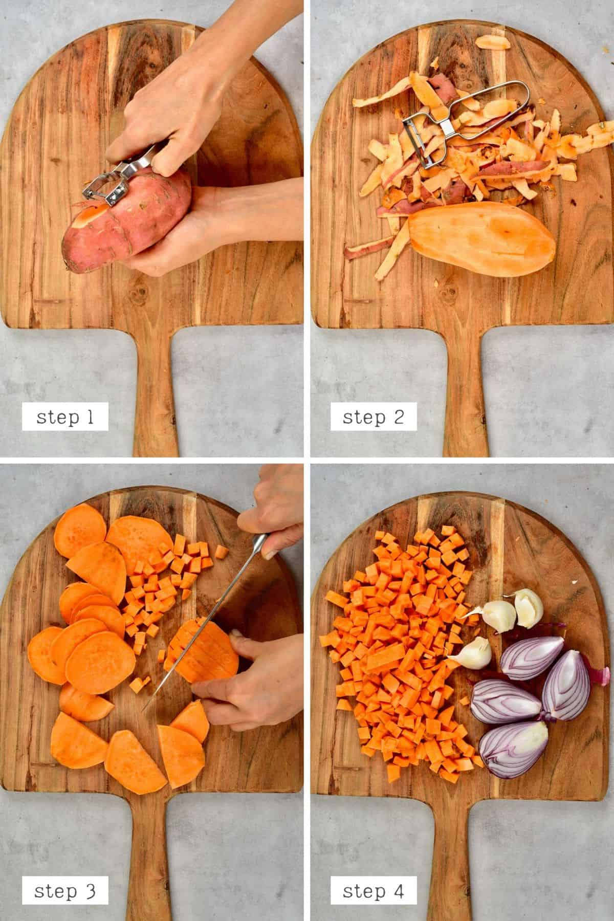 Steps for chopping sweet potato garlic and onion