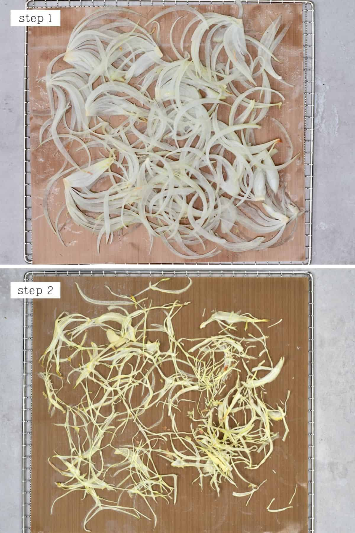 Steps for dehydrating onions