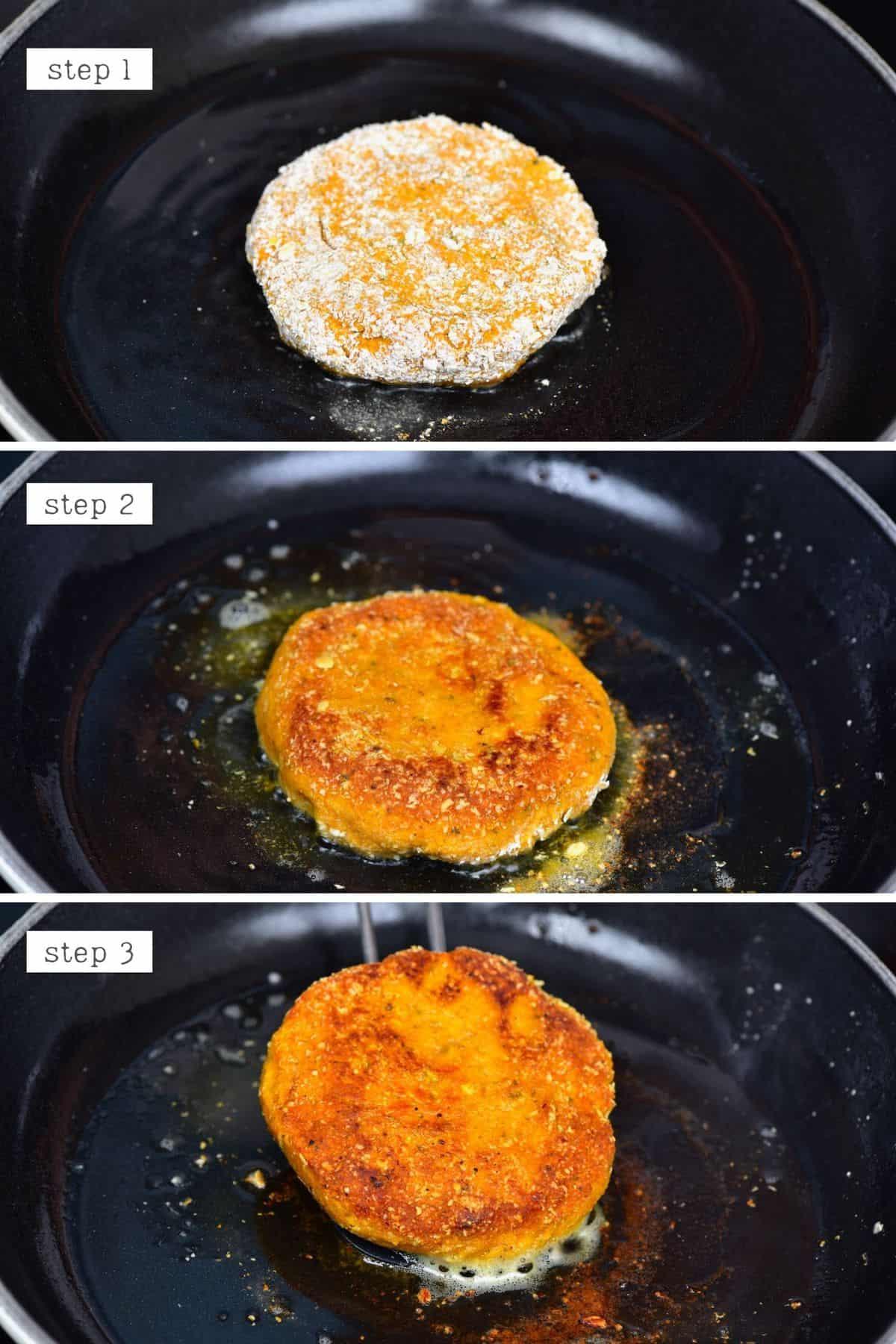 Steps for frying pumpkin patties