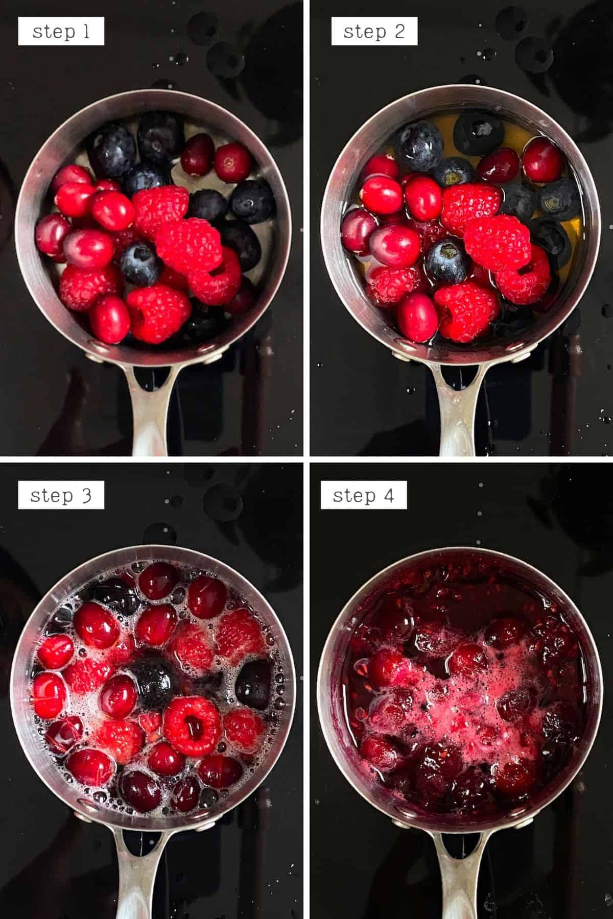 Steps for making mixed berries compote