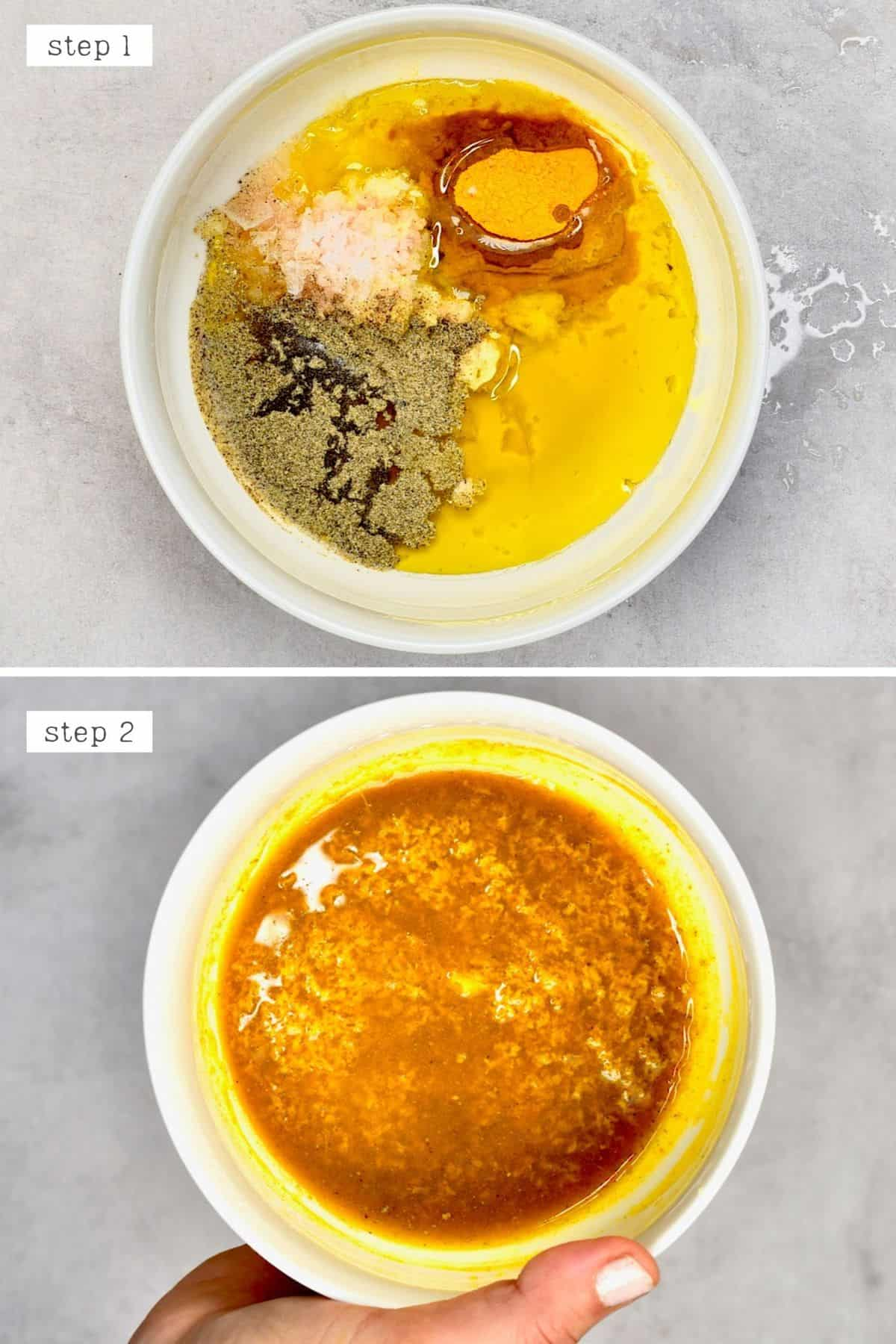 Steps for mixing turmeric spices and oil