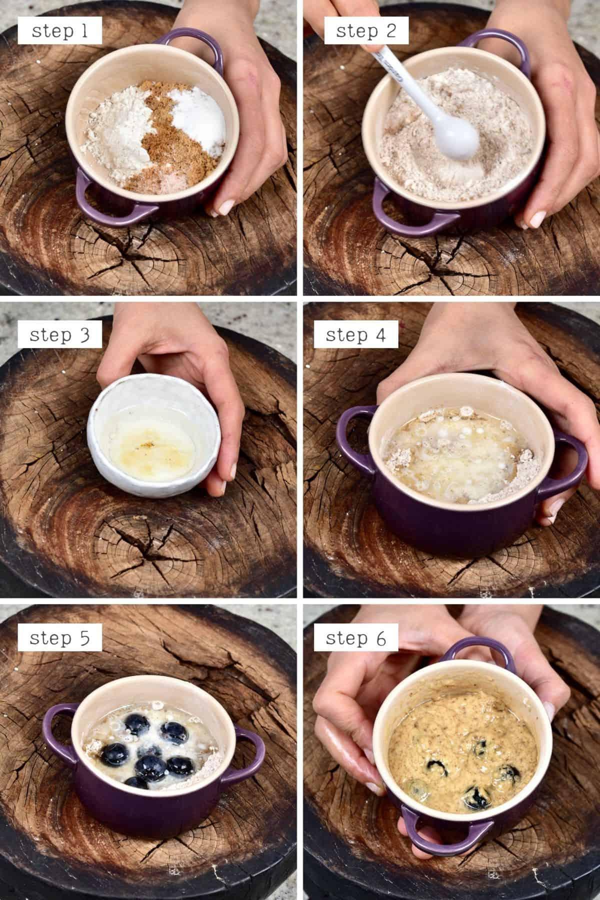Steps for preparing berry mug cake