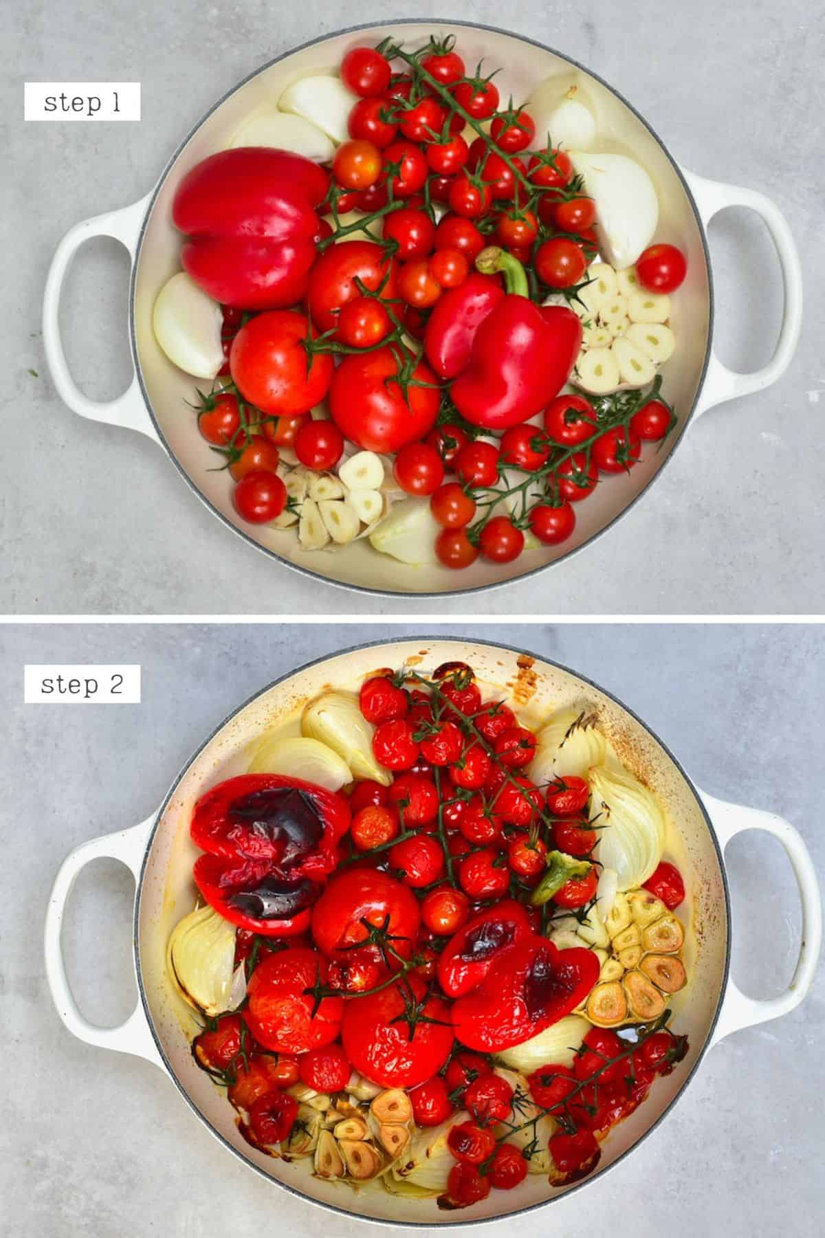Steps for roasting tomatoes and peppers