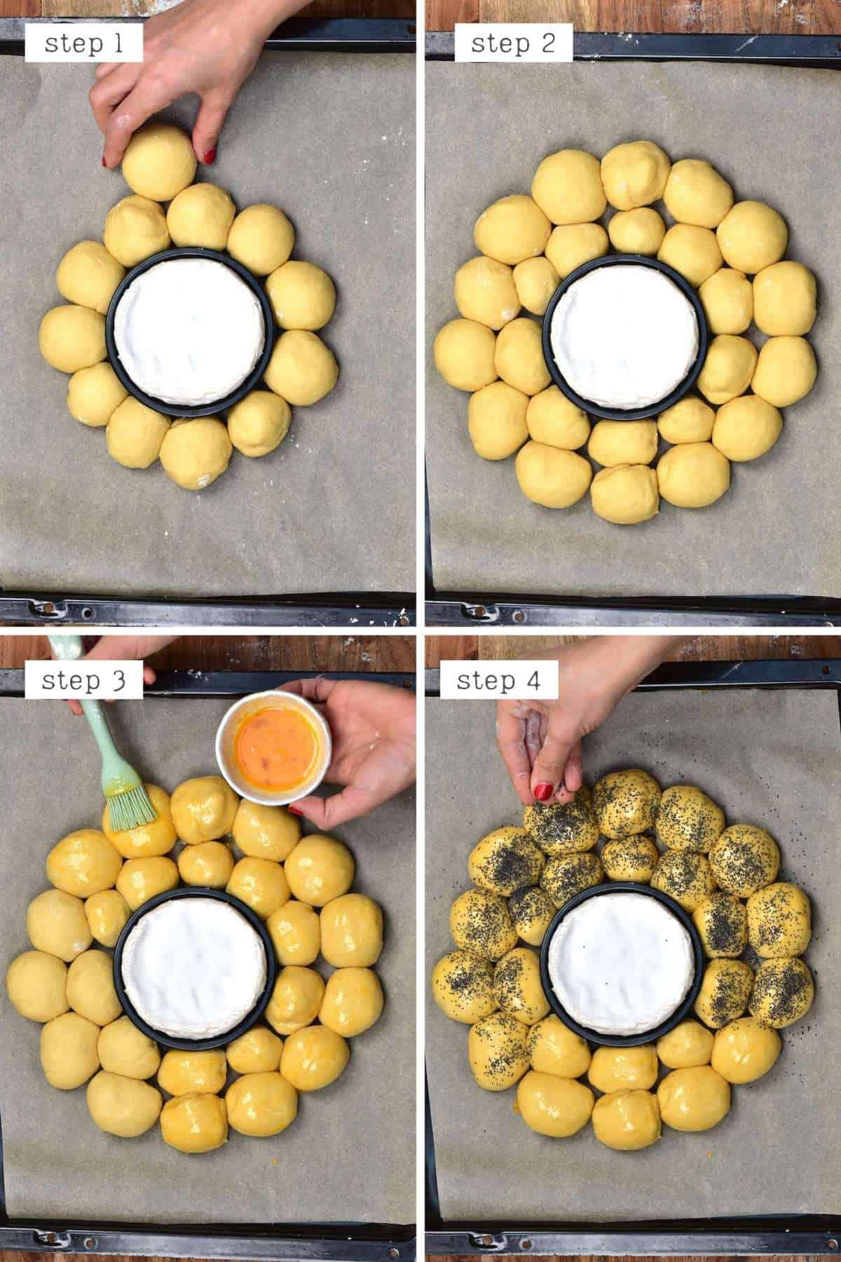 Arranging dough balls in a wreath shape