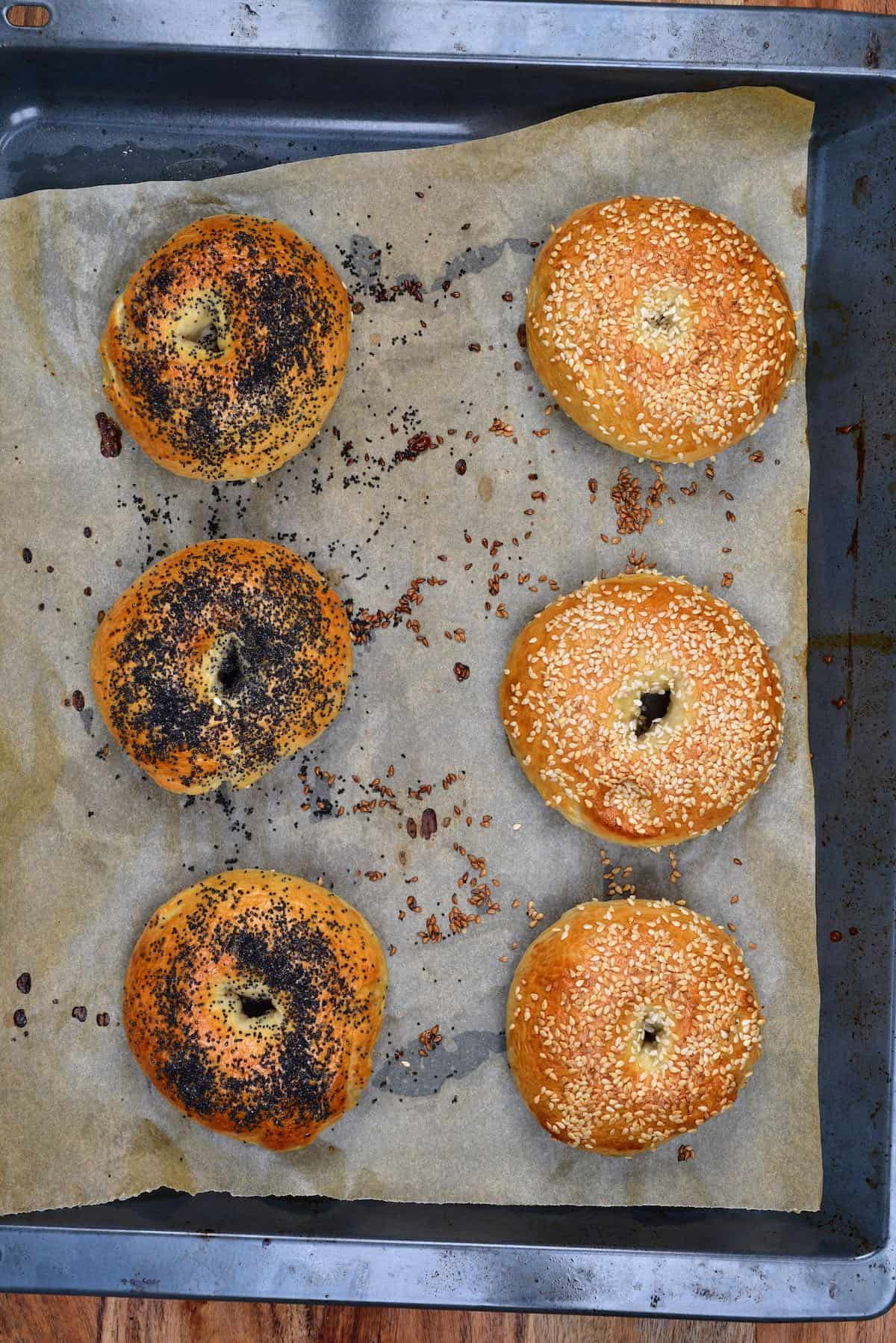 Six bagels in a baking tray with different seeds on top