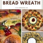 Steps for making dinner rolls wreath and baked camembert