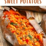 Baked sweet potato topped with thyme and pepper