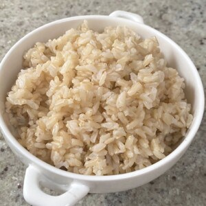 A small bowl with brown rice