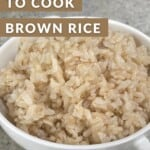 A bowl with cooked brown rice