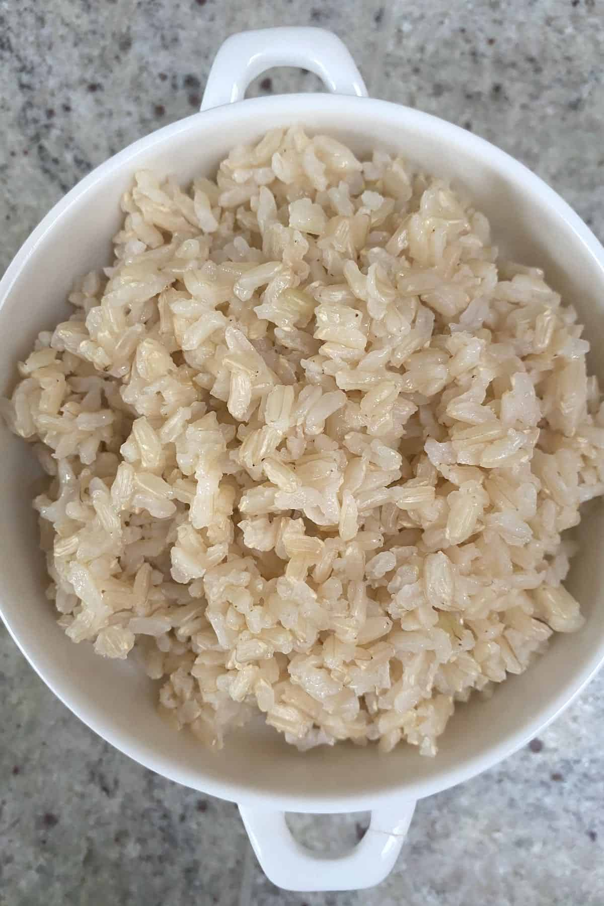 Brown rice served in a small bowl