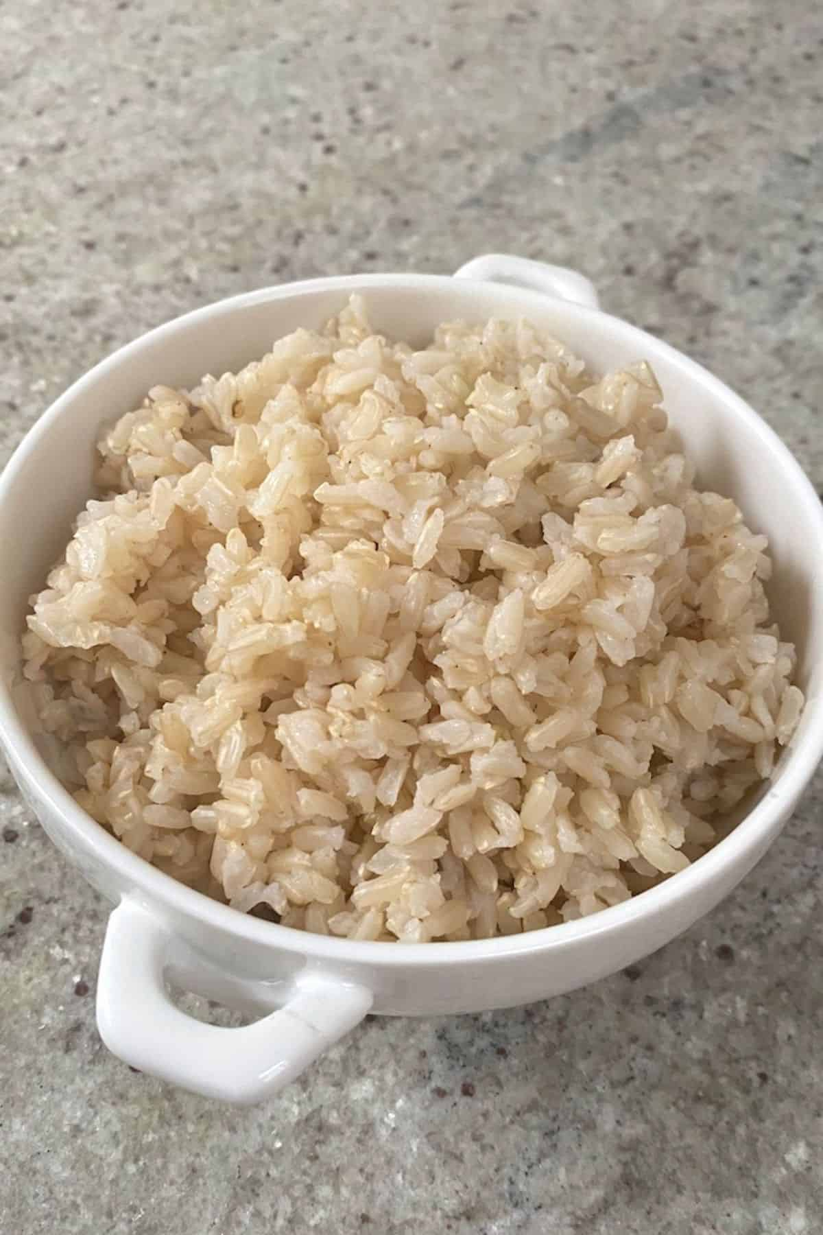 Brown rice in a small bowl