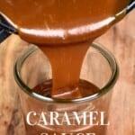 Pouring homemade caramel into a jar
