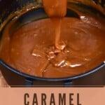 Homemade caramel into a pot