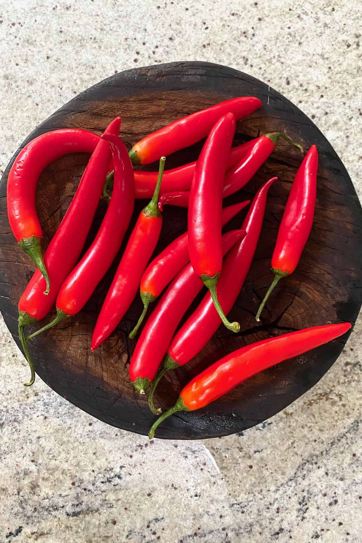 Chili peppers on a board