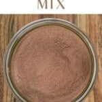 Top view of hot chocolate mix in an open jar