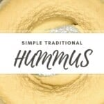 Close up of creamy hummus in a bowl