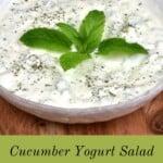 A bowl with Cucumber Yogurt Salad