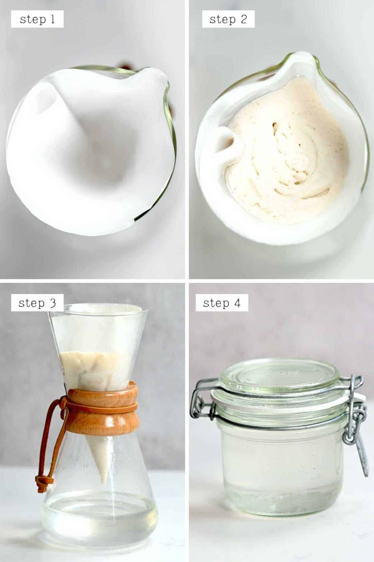 Dripping coconut oil though a coffee filter