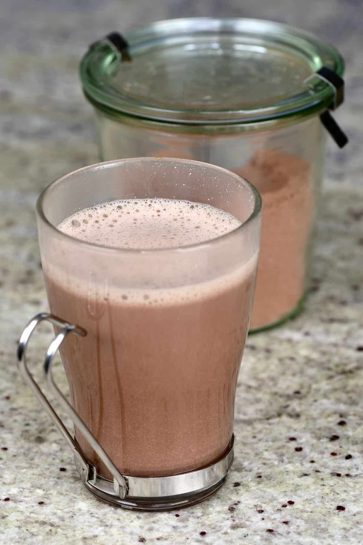 A glass with hot chocolate