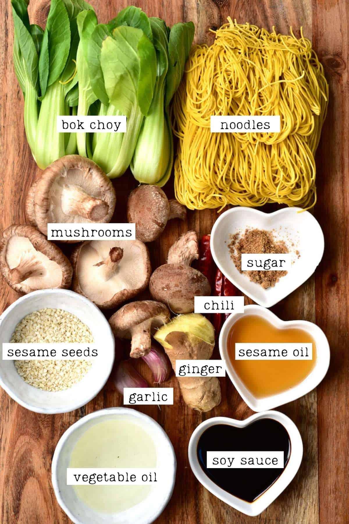 Ingredients for Dan Dan Noodles