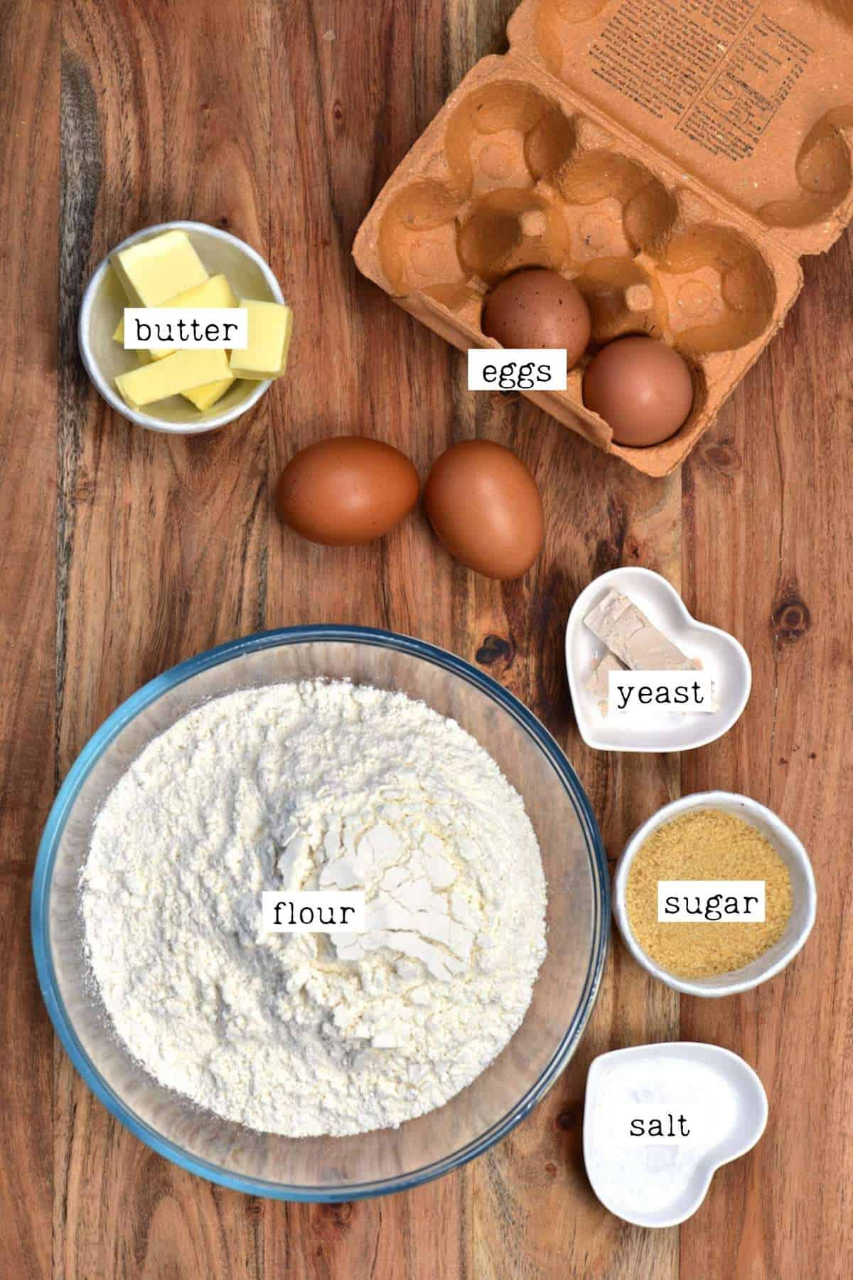 Ingredients for cheese buns