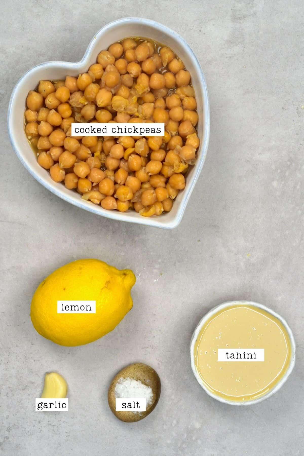 Ingredients for making hummus