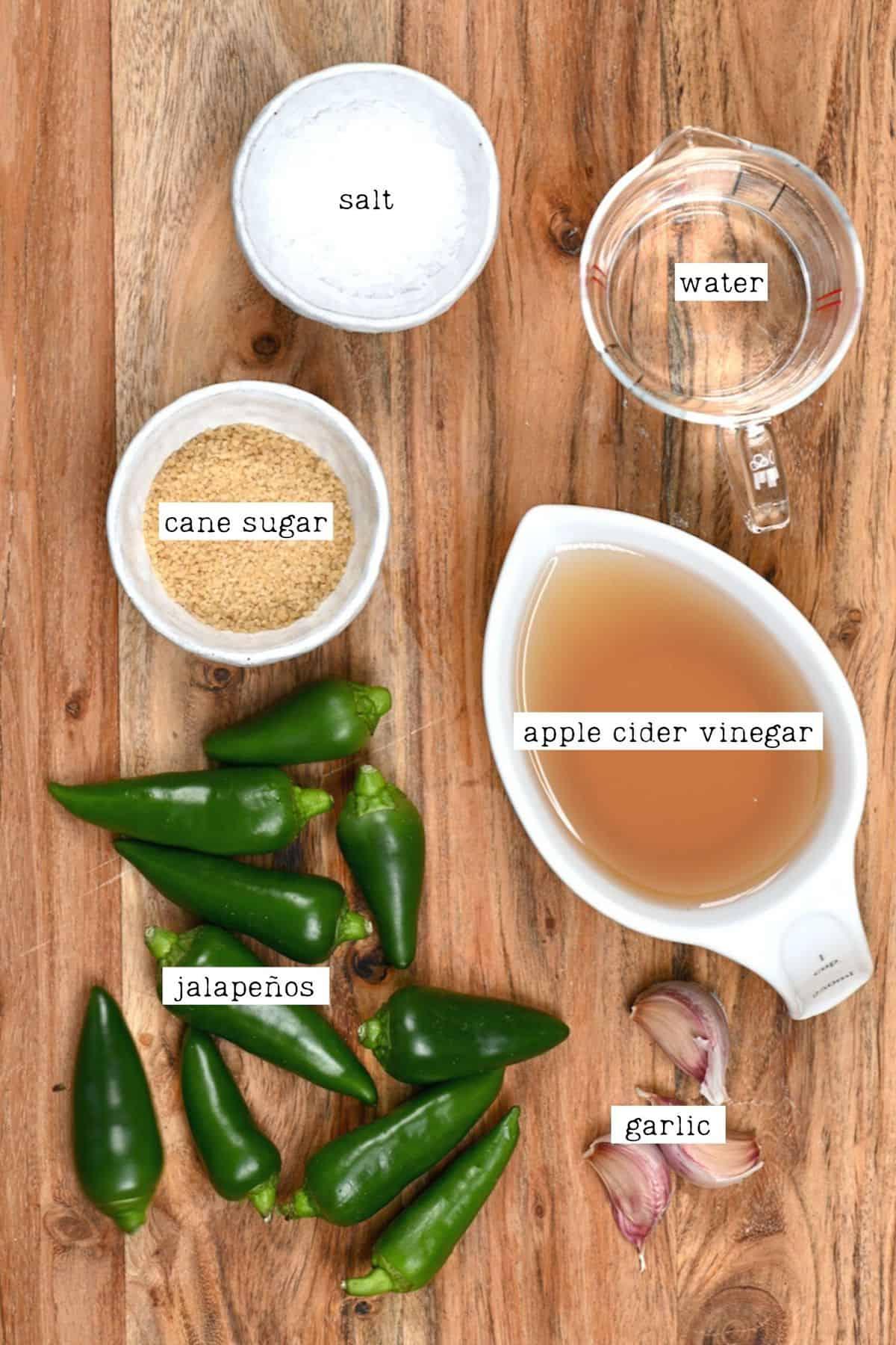 Ingredients for pickled jalapenos