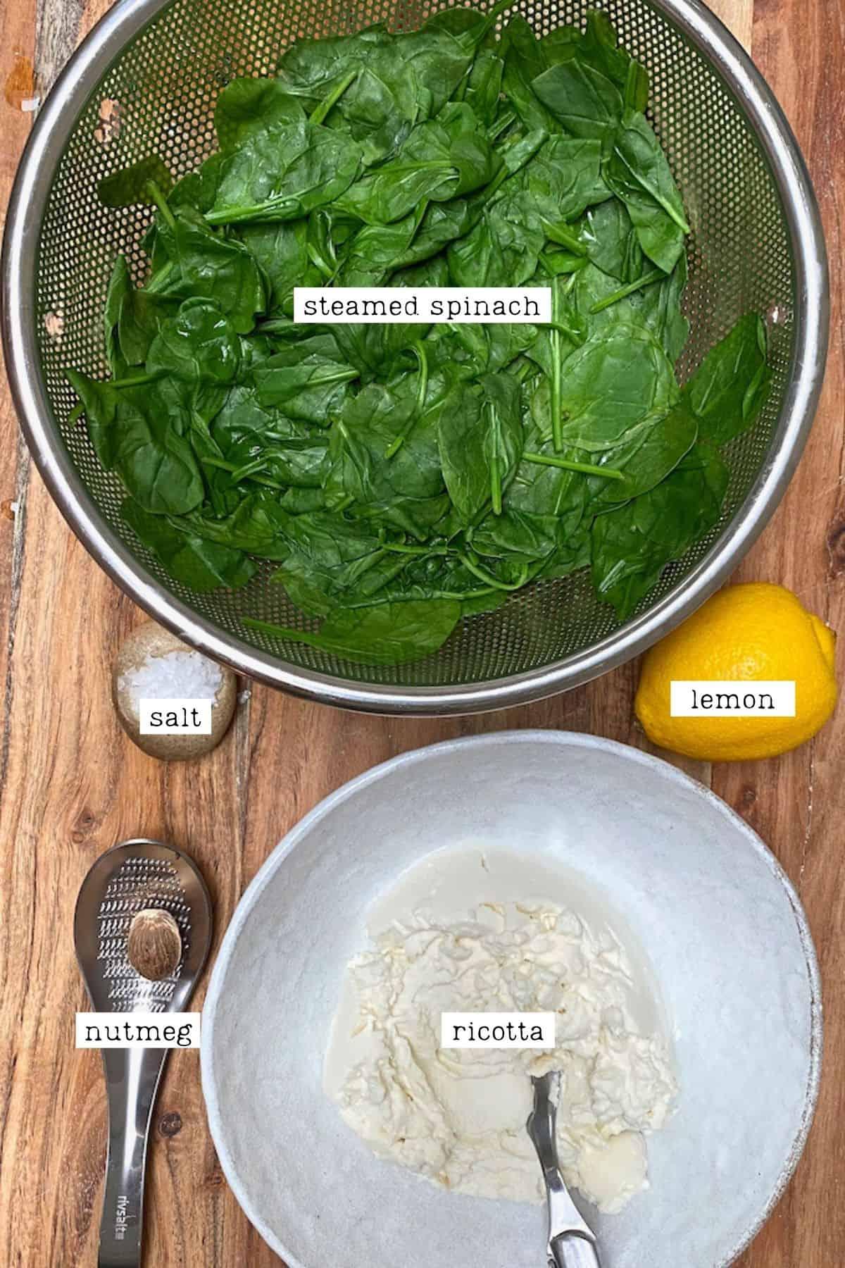 Ingredients for ravioli filling