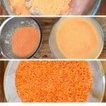 Steps to making red lentil flour