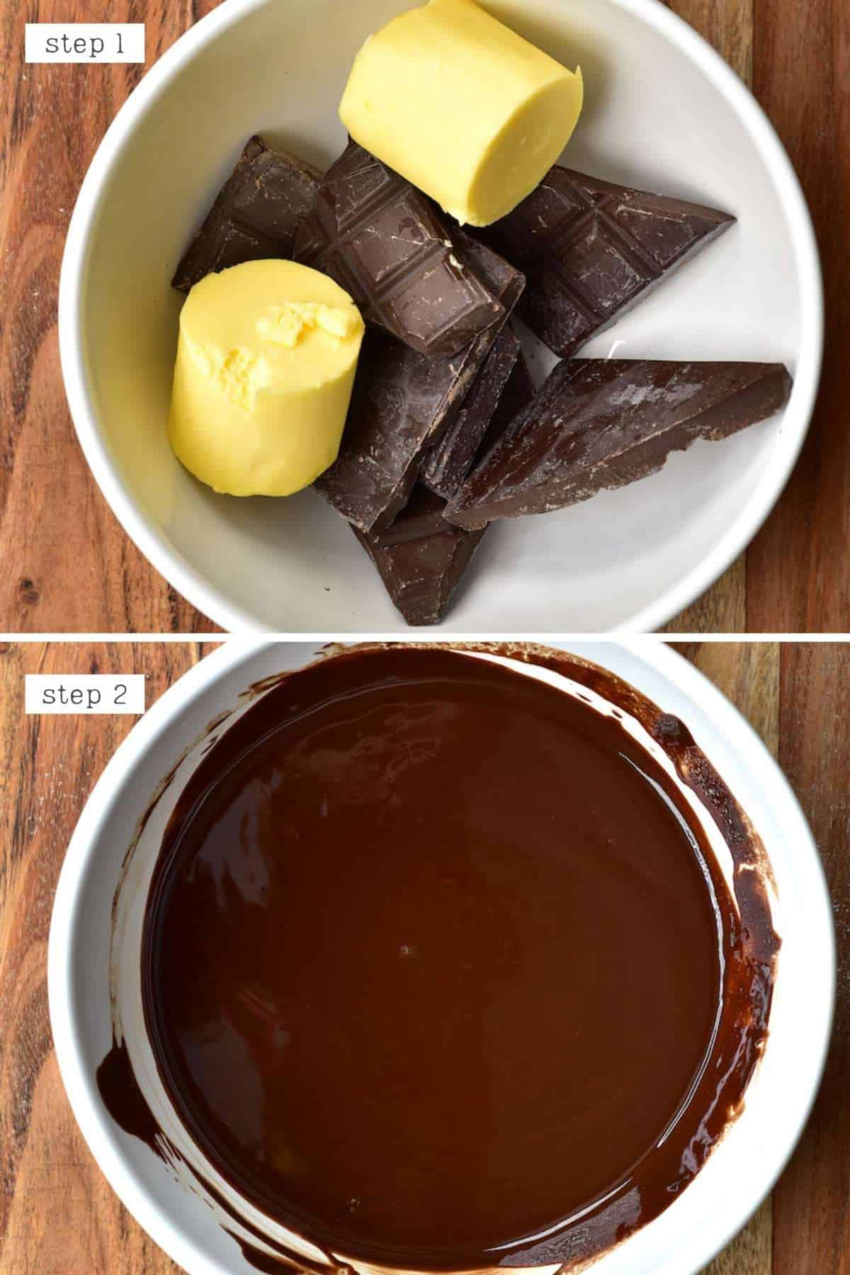 Melting butter and chocolate