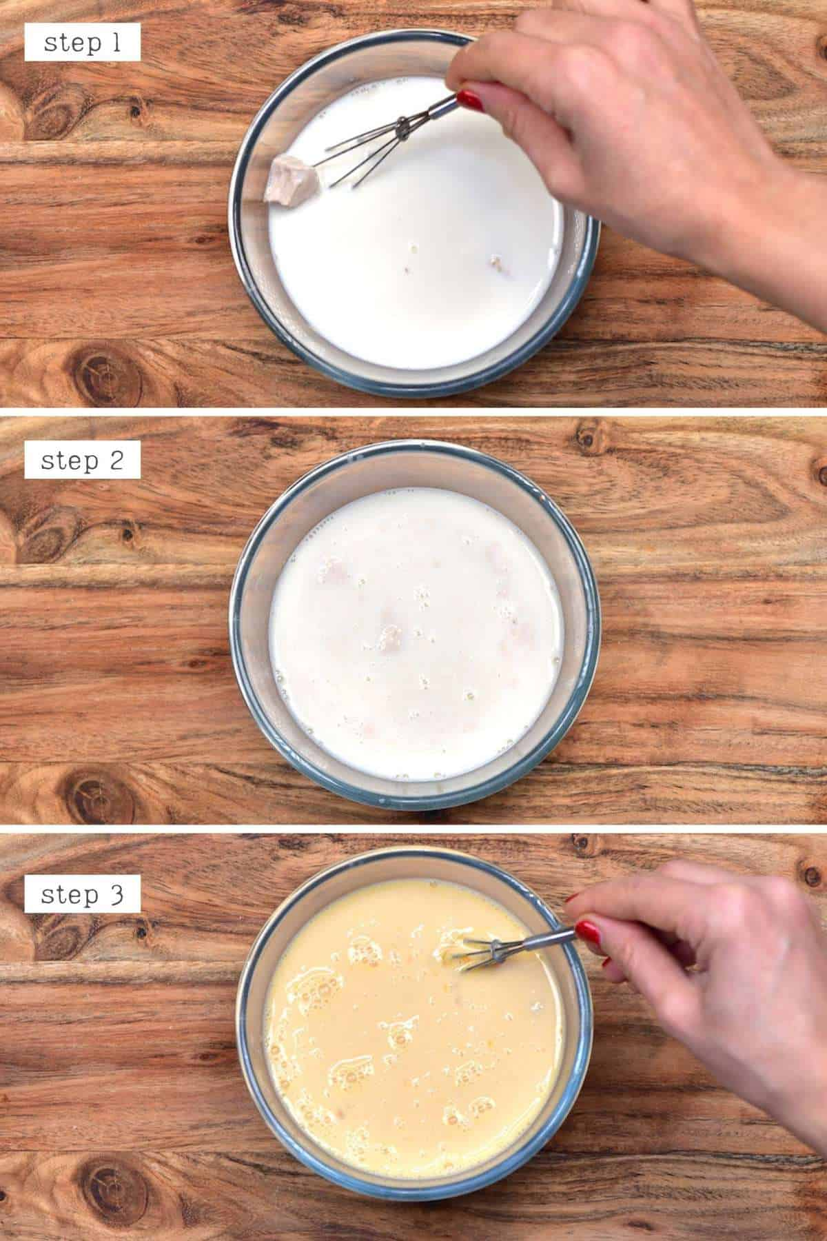 Mixing milk with yeast and eggs