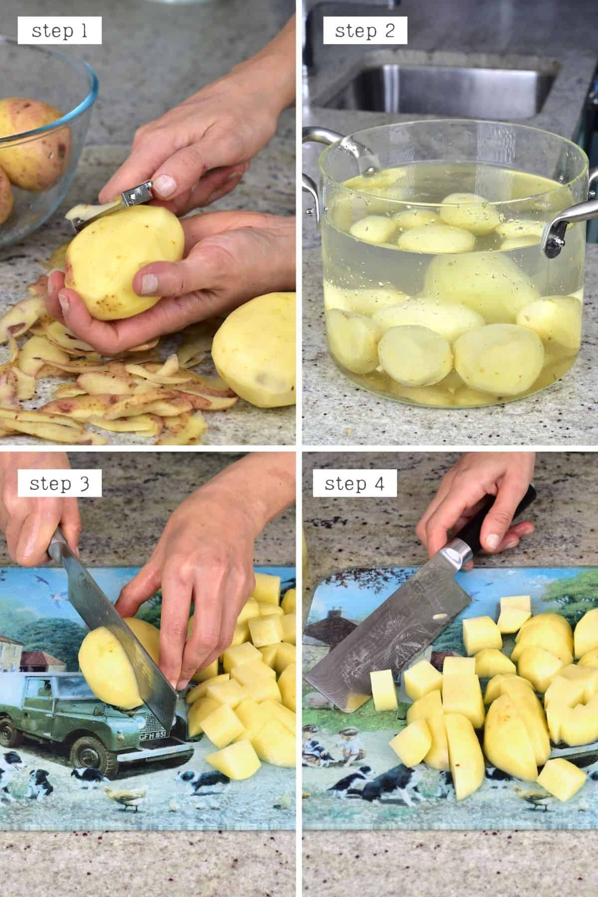 Peeling and chopping potatoes for boiling