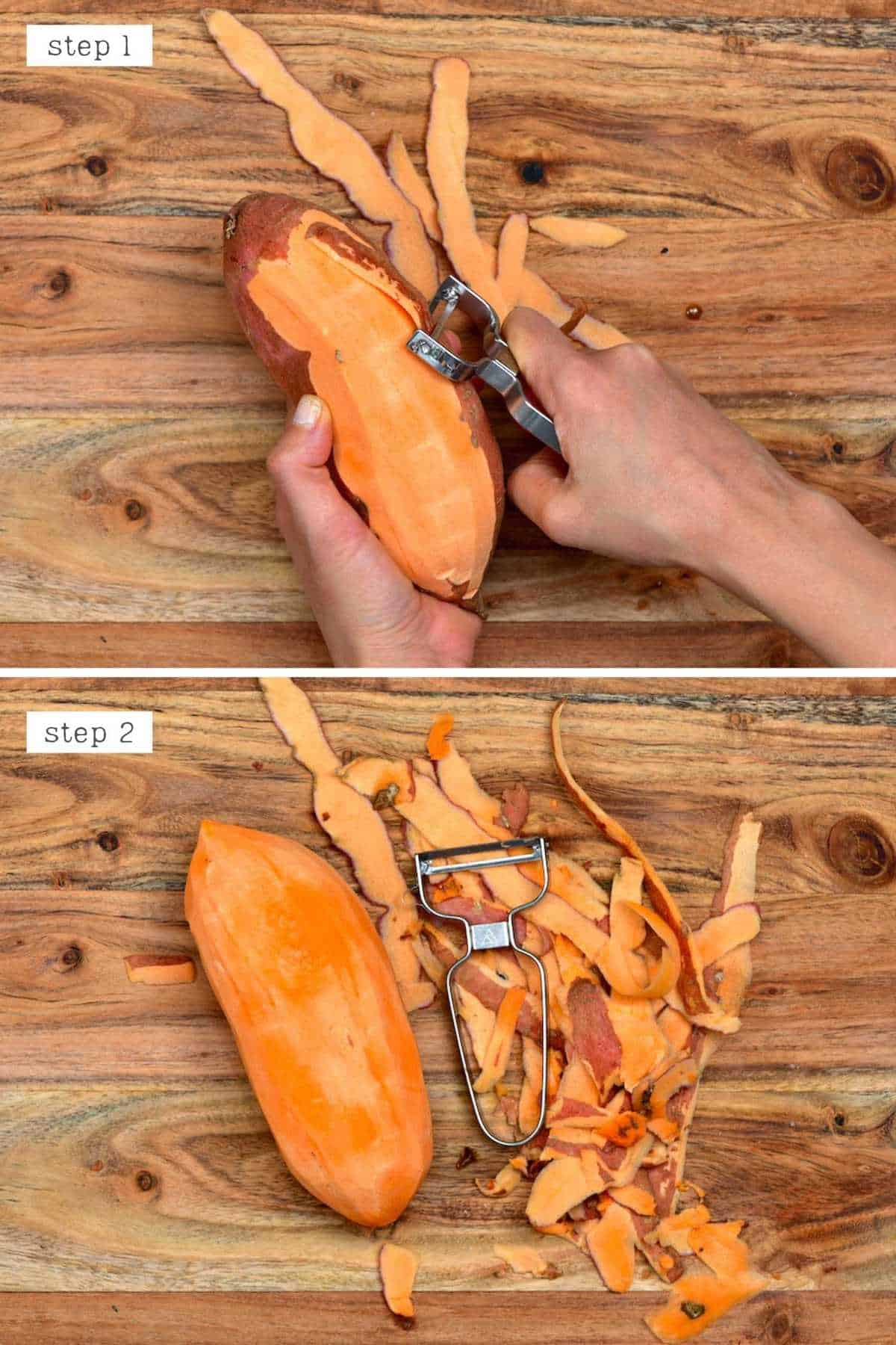 Peeling sweet potato