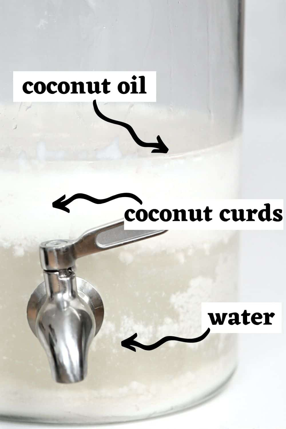 Poiting to coconut oil curds and water