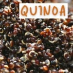 Close up of cooked fluffy quinoa