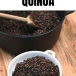 Cooked fluffy quinoa in a bowl and a pot next to it