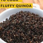 Cooked fluffy quinoa in a bowl