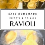 Steps for making spinach and ricotta ravioli