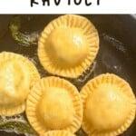 Panfrying homemade ravioli