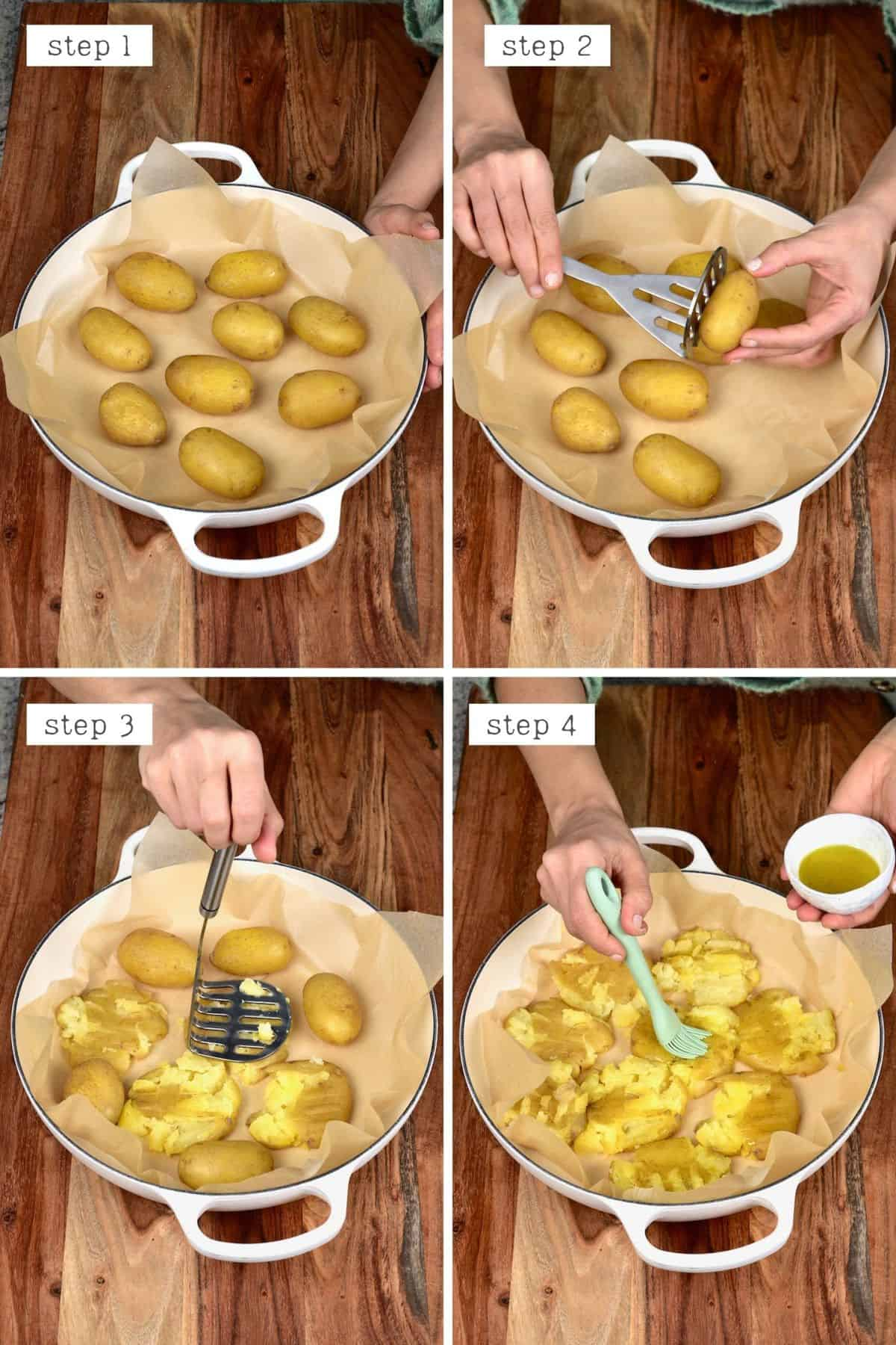 Smashing boiled potatoes and adding oil