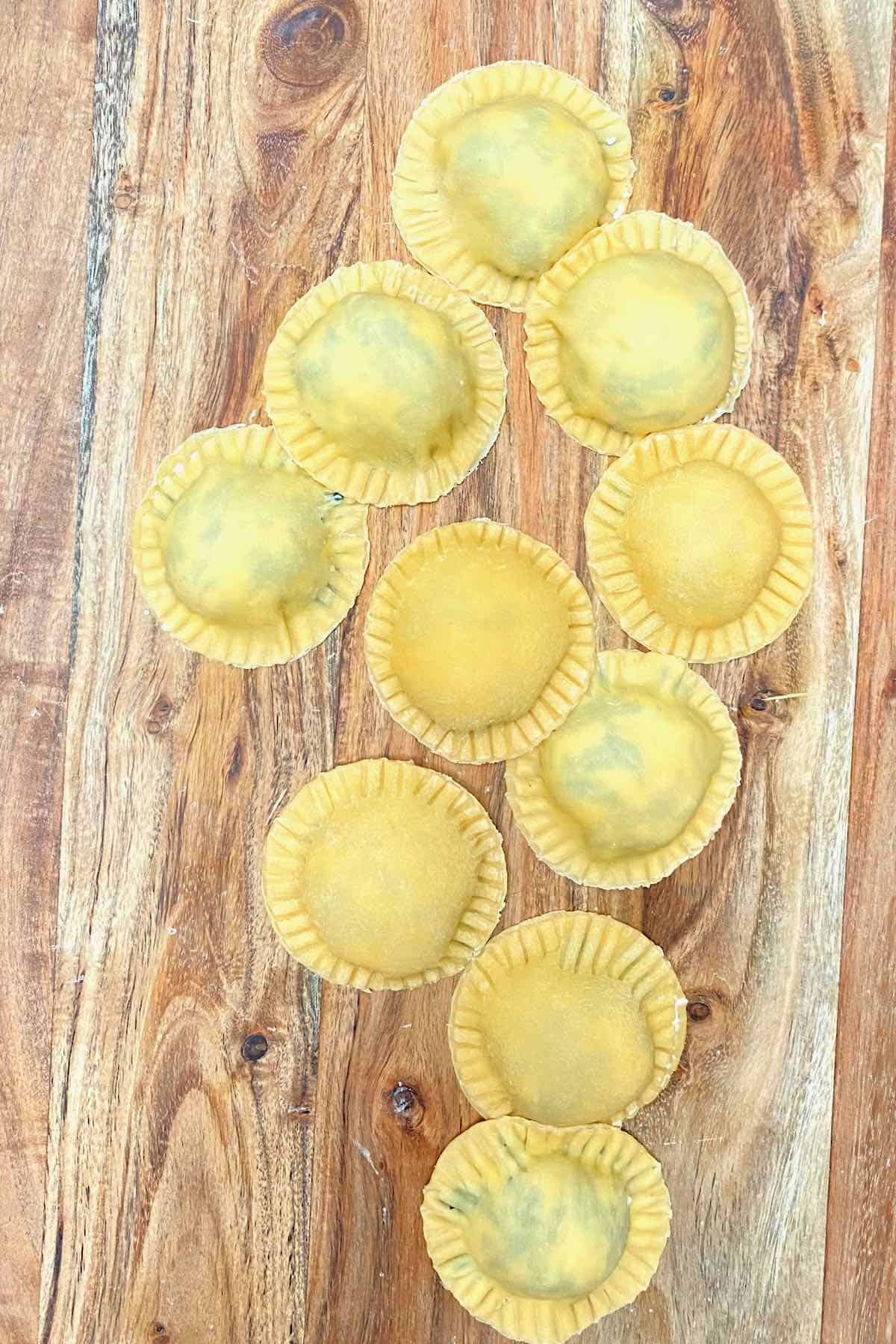 Homemade ravioli filled with spinach