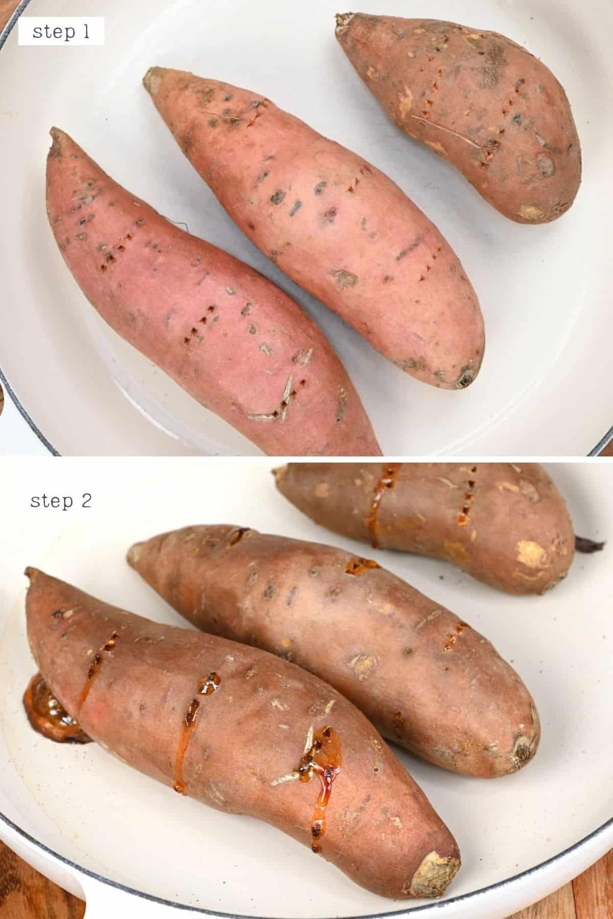 Steps for baking sweet potatoes