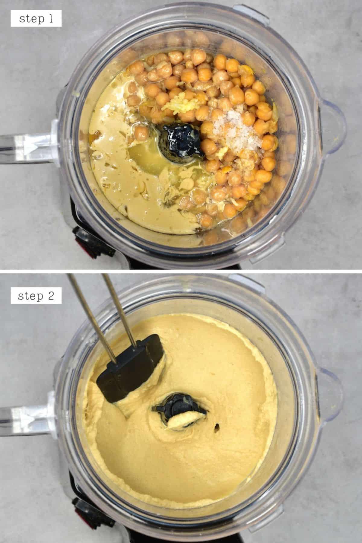 Steps for blending hummus