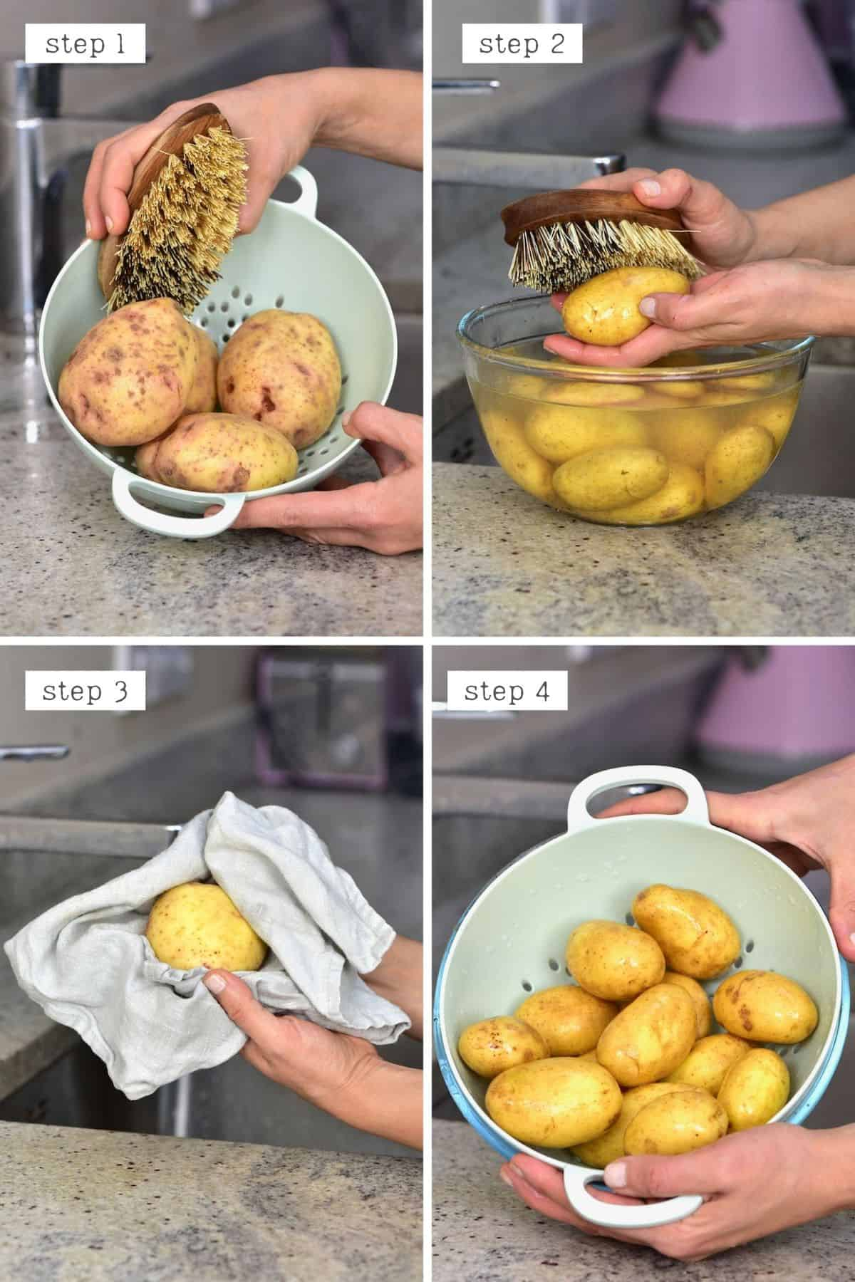 Steps for cleaning potatoes